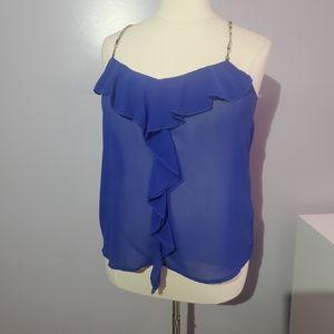 Fashion to figure blue sheer ruffle sleeveless top